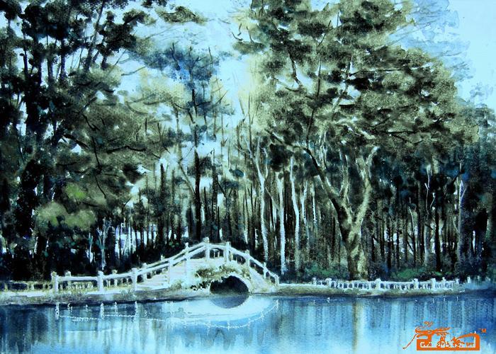 名家 张超文 水彩 - 园林桥影